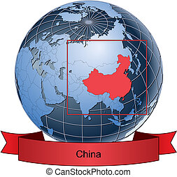 China, position on the globe Vector version with separate layers for globe, grid, land, borders, state, frame; fully editable
