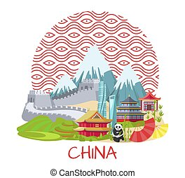China Poster with Famous Landmarks and Nature