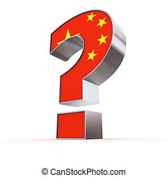 China Question Mark - metallic question mark with the chines...