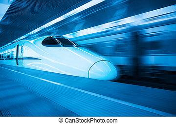 china railway highspeed train with blue tone