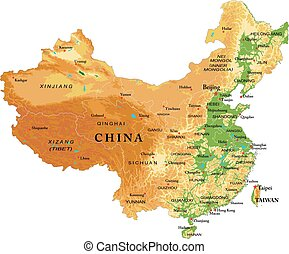China relief map - Highly detailed physical map of China, in...