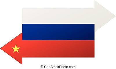 China Russia flags - cooperation, exchange and delivery