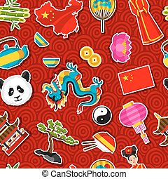 China seamless pattern. Chinese sticker symbols and objects
