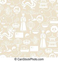 China seamless pattern. Chinese symbols and objects