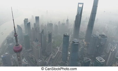 China, Shanghai city panorama from the air (Drone footage)