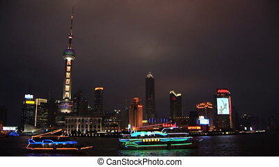 China, Shanghai, Pudong, Huangpu River, skyline, night