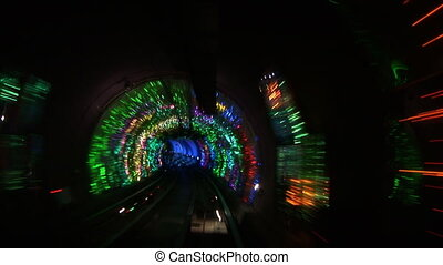 China, Shanghai, The Bund, Bund sightseeing tunnel, slow shutter speed