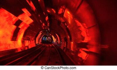 China, Shanghai, The Bund, Bund sightseeing tunnel, slow shutter speed