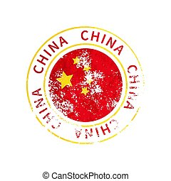 China sign, vintage grunge imprint with flag on white