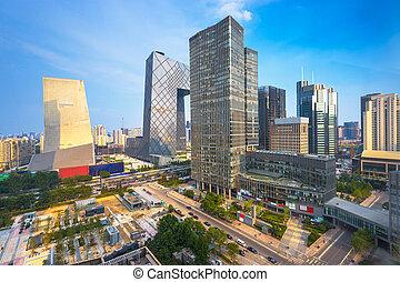china, skyline., cbd, bejing, ciudad