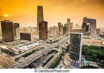 china, skyline, financeiro, beijing, distrito
