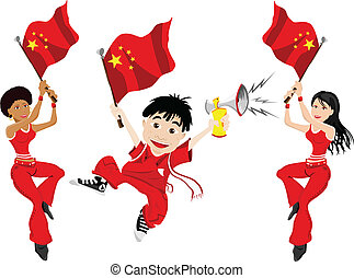 China Sport Fan with Flag and Horn