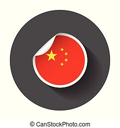 China sticker with flag. Vector illustration with long shadow.