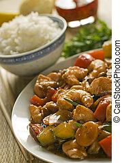 china - asian chop suey with salmon and prawn close up