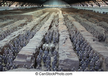 china, terracota, xian, ejército