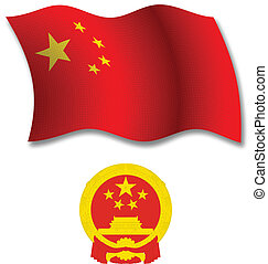 china textured wavy flag vector