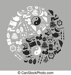 China theme black icons vector set symbols eps10