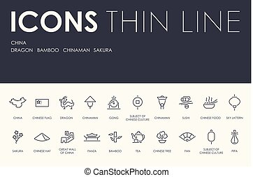 CHINA Thin Line Icons
