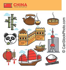 China tourism travel landmarks and Chinese culture famous symbols vector icons set