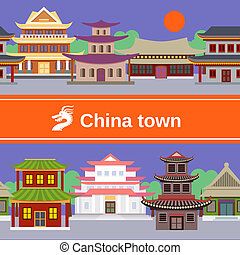 China town tileable border - China town with traditional...