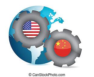 china, trabajo junto, nosotros