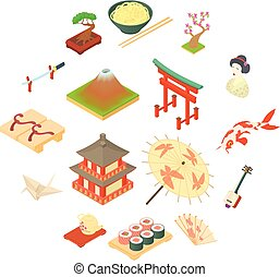 China traditional culture icons set, cartoon style - China...