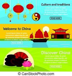 China travel banner horizontal set, flat style