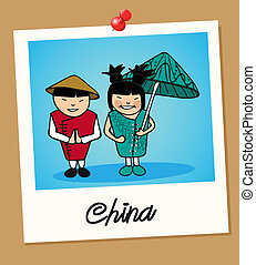 China travel polaroid people - Chinese man and woman cartoon...