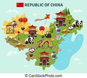 China Travel Sightseeing Map Poster