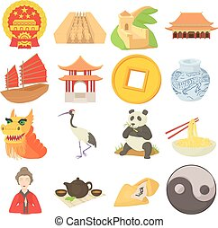 China travel sport icons set, cartoon style