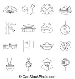 China travel symbols icons set, outline style