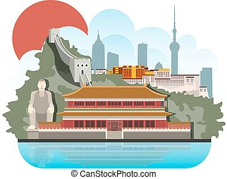 China travel with architecture, traditional symbols. Vector illustration