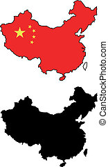 China - vector map and flag of China with white background....
