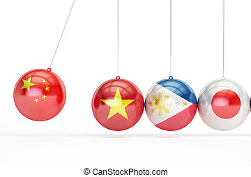 China, Vietnam, Philippines, Japan conflict concept, 3D rendering