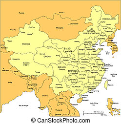 China, editable vector map broken down by administrative districts includes surrounding countries, in color with cities, district names and capitals, all objects editable. Great for building sales and marketing territory maps, illustrations, web graphics and graphic design. Includes sections of ...