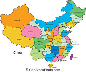 China editable vector map broken down by administrative districts, in color with cities, district names and capitals, all objects editable. Great for building sales and marketing territory maps, illustrations, web graphics and graphic design.