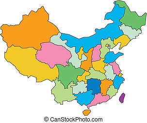 China editable vector map broken down by administrative districts, in color, all objects editable. Great for building sales and marketing territory maps, illustrations, web graphics and graphic design.