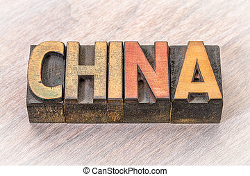 China word in vintage wood type