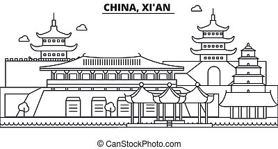 China, Xian architecture line skyline illustration. Linear vector cityscape with famous landmarks, city sights, design icons. Editable strokes