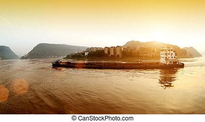 China Yangtze River town landscape - Travel on the Yangtze...