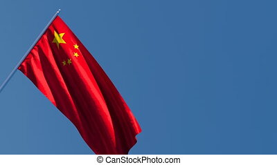 China's national flag is flying in the wind