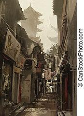 chinatown, pintura, callejón