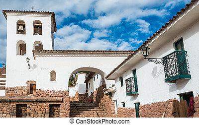 chincheros, miasto, peruwiański, andy, cuzco, peru