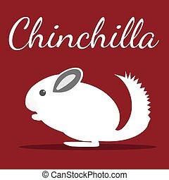 Chinchilla. Vector illustration. Pet icon in flat style...