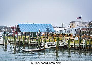 chincoteague, sziget, virginia., öböl, waterfront, kilátás