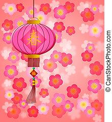chinees, blossom , kers, achtergrond, jaar, nieuw, lantaarntje