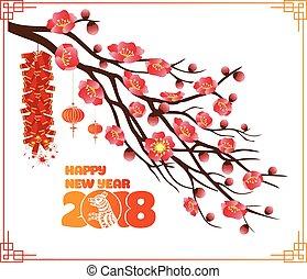 chinees, classieke, blossom , achtergrond, jaar, nieuw