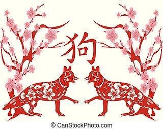 chinees, dog, achtergrond, jaar