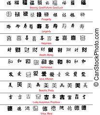 chinees, gelukkig, symbolen, vector, engelse , vertaling