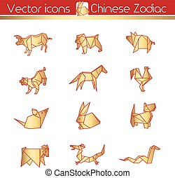 chinees, goud, icons., vector, origami, zodiac